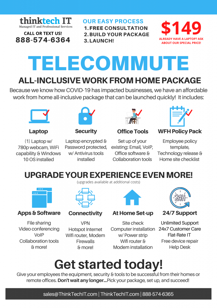 Work from home all-inclusive technology package starting at $149 !